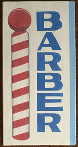 BARBER SHOP SIGN - Vertical - w/ Painted Barber Pole