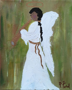 RUSTIC ANGEL on Stretched Canvas - by Paulette Ford