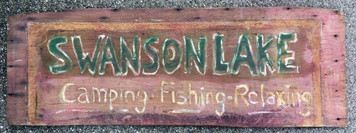 "SWANSON LAKE Hand Painted Sign by ""Heavy"""