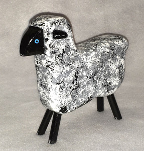 CARVED WOODEN SHEEP by Jo Ann Butts