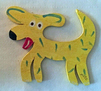 YELLOW CUT-OUT DOG by MOJO
