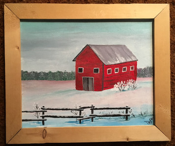 OLD RED BARN in the SNOW by Sharon Boggs