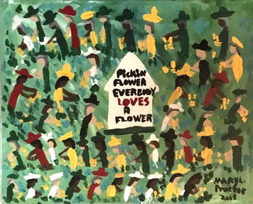 EVERYBODY LOVES A FLOWER - Canvas Painting by  Mary Proctor