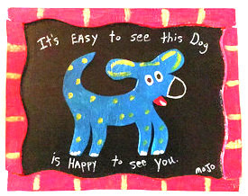 HAPPY BLUE DOG - Framed - by MOJO - WAS $125 - NOW $100