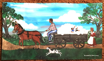 KID IN WAGON LOAD of COTTON by Roebuck - WAS $100 - NOW $80