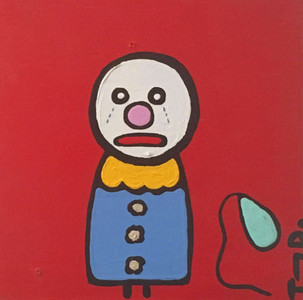 ACRYLIC PAINTING- SAD CLOWN - by Tony Dotson