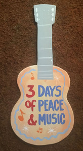 WOODSTOCK - GUITAR SHAPE - WALL HANGER by George Borum