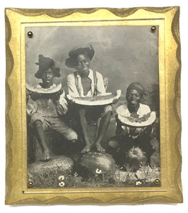 Old Lithograph of 3 BLACK BOYS with WATERMELONS