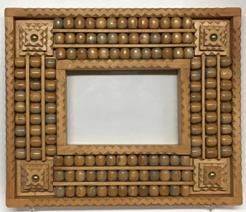 TRAMP ART FRAME w/ BEADS (#3227) by Geo G Borum