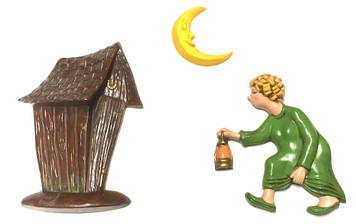 Old Woman Running to the Outhouse at Night w/ Lantern - 3 pc Wall Hanger