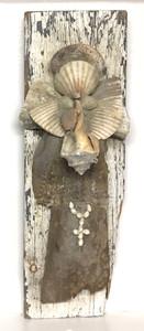 SEA SHELL ANGEL - Found Wood & Shells