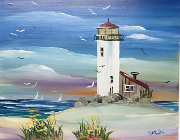 LIGHTHOUSE and Sailboats - Oil Painting by Norm