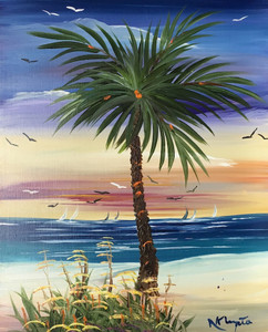 PALM TREE - OIL PAINTING by Norm - WAS $50 - NOW $40