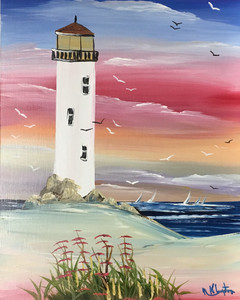 LIGHTHOUSE - OIL PAINTING - Vertical - by Norm - WAS $50 - NOW $40