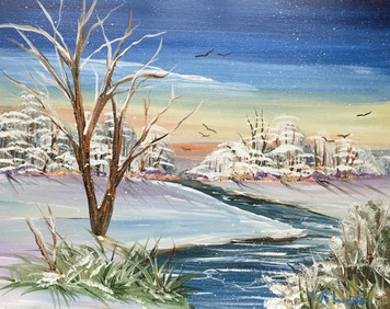 WINTER SNOW SCENE - OIL PAINTING by Norm - WAS 50 - NOW $40