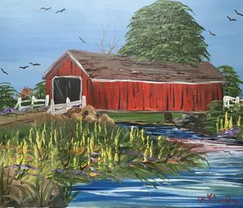 COVERED BRIDGE - OIL PAINTING - BY NORM - WAS $50 - NOW $30