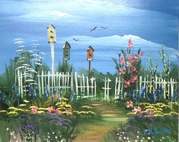 BIRDHOUSES - OIL PAINTING BY NORM