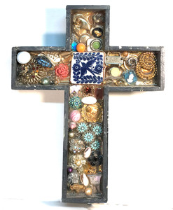 Heavy Wood CROSS covered w/ Jewelry, etc