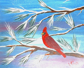 REDBIRD in the Snow - Oil Painting by Norm - WAS $50 - NOW $40