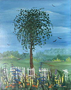 TREE & FENCE - Oil Painting by Norm