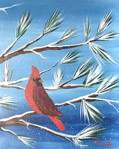 REDBIRD in the Snow - Vertical -  Oil Painting by NormWAS - $50 - NOW $30
