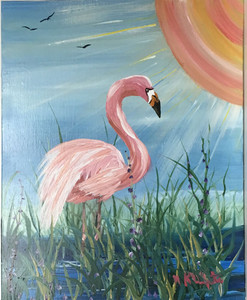 FLAMINGO -  OIL PAINTING by Norm