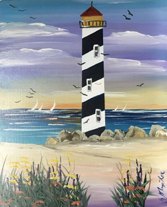 Black & White Lighthouse - Oil Painting by Norm - WAS $50 - NOW $40