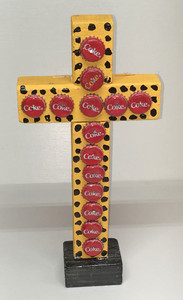 HEAVY WOOD CROSS -Coke Bottle Caps #1409 by Billy Fred Hellams