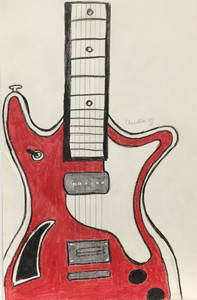 RED GUITAR - by Claudia