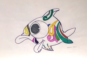 COLORFUL FISH - Pencil & Markers - by Delia