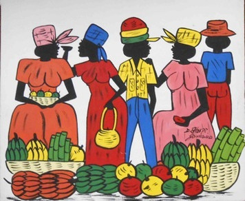 Colorful Haitian or Jamaican Native - Open Air Market Shoppers - Was $95