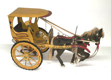 "Colorful Horse & Carriage Model - 13"" long"