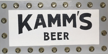 Kamm Beer Sign  trimmed with REAL - UNUSED KAMMS BOTTLE CAPS