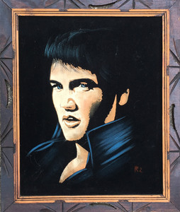 VELVET ELVIS - The Real Deal!! Hand Carved Frame