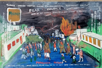 HISTORIC FERGUSON MO RIOTS PAINTING - 2014 - by Jaybird - St Louis Street Artist