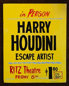 HARRY HOUDINI - SIDESHOW SIGN - by George Borum - Was $35 - Now $20