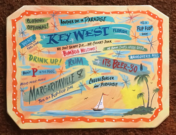 KEY WEST FLORIDA - Party Sign - Sailboat & Palm Tree - Margaritaville