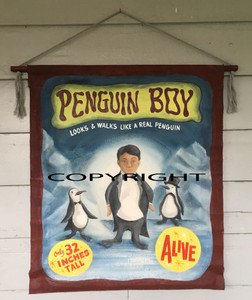 PENGUIN BOY - CARNIVAL BANNER  by Wolfe & Borum - WAS $250 - NOW $195