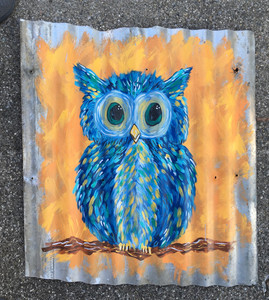 "COLORFUL OWL PAINTING on Found Metal - 27"" x 29"""