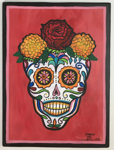 Sugar Skull Painting on wood panel - Maria del Sol