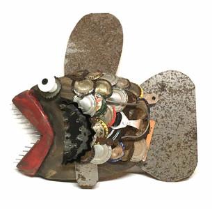 FISH - Wood - Scrap Art - Found Objects -A- by Steve Meadows
