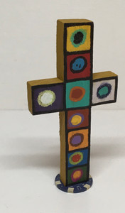 MULTICOLOR WOODEN CROSS -588 - by Billy FRED Hellems