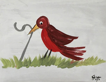 ROBIN PULLING WORM - by John Taylor