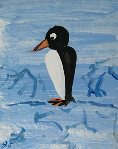 PENGUIN PAINTING on CARDBOARD - by John Taylor