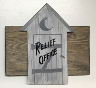 RELIEF OFFICE - OUTHOUSE -Wall or Door Plaque