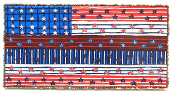 110 STAR FLAG - Blue Strip for Police - by Deane V Bowers