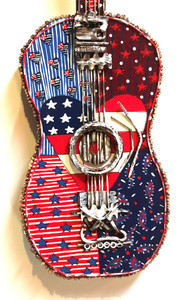 RED - WHITE and BLUES - FOUND OBJECT GUITAR by Deane Bowers