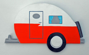 Colorful RETRO TEARDROPTRAILER - Cutout Wall Hanger