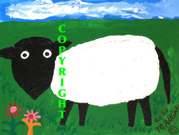 "BIG SHEEP 9""x12"" PAINTING - by Minnie Adkins - Was $75 - Now $60"