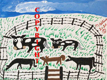 BARN YARD w/ HORSES & COWS by Minnie Adkins - Was $75 - Now $60
